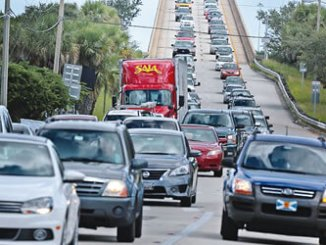 Traffic was backed up for miles as residents make an evacuation route over 520 bridge heading west from Merritt Island, Florida. PHOTO: CNN.