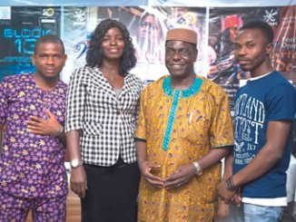 Tomoloju (second right)  and the cast of The  Wives  Revolt.