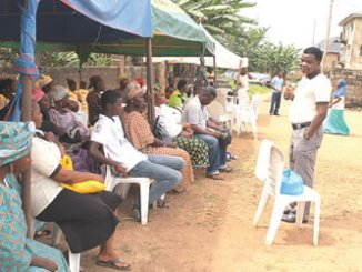 Chaplain Stephen Olujinmi, President, Faithful Stewards Foundation (FASTMED), addressing participants and beneficiaries of the medical mission exercise at Apata, Ibadan, Oyo State, recently.