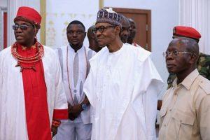 From left: Oba of Benin, Oba Ewuare II, President Muhammadu Buhari and Governor Adams Oshiomhole