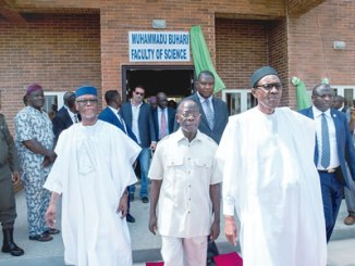 From right, President Muhammadu Buhari; Edo State governor, Adams Oshiomhole and the All Progressives Congress (APC) national chairman, John Odigie-Oyegun, during the unveiling of the plaque to commission the Muhammadu Buhari Administrative Complex, at the Edo State University, Iyamho, Edo State, on Tuesday.