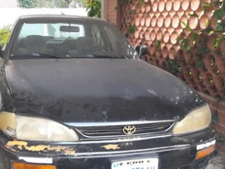 Mrs Omogui's car that was shot during the robbery incident.