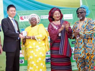 From left, Trade Commissioner , Japan External Trade Organisation, Mr Taku Miyazaki,  receiving  award for 2016 overall best Pavilion from  Deputy Governor, Lagos State: Dr Idiat Oluanti Adebule. With them are President, Lagos Chamber  of Commerce and Industry, Chief Mrs. Nike Akande  and Chairman, Trade Promotion Board, Mr Tayo Oyetayo, during the 2016 Lagos International Trade fair  closing  ceremony, held at Tafawa Balewa Square, Lagos on Sunday. Photo; Sylvester Okoruwa.