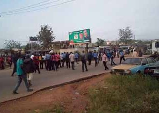 Members of the Nigerian Police staging a peaceful protest in Ondo State.