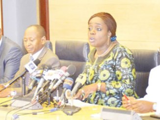 From left, Permanent Secretary, Federal Ministry of Finance, Alhaji Mahmoud Isa-Dutse; Minister of Finance, Mrs Kemi Adeosun; Accountant General of the Federation, Alhaji Ahmed Idris and  Director, Revenue and Investment, Office of the Accountant General of the Federation, Mr Bakari Wadinga, during a media conference in Abuja.
