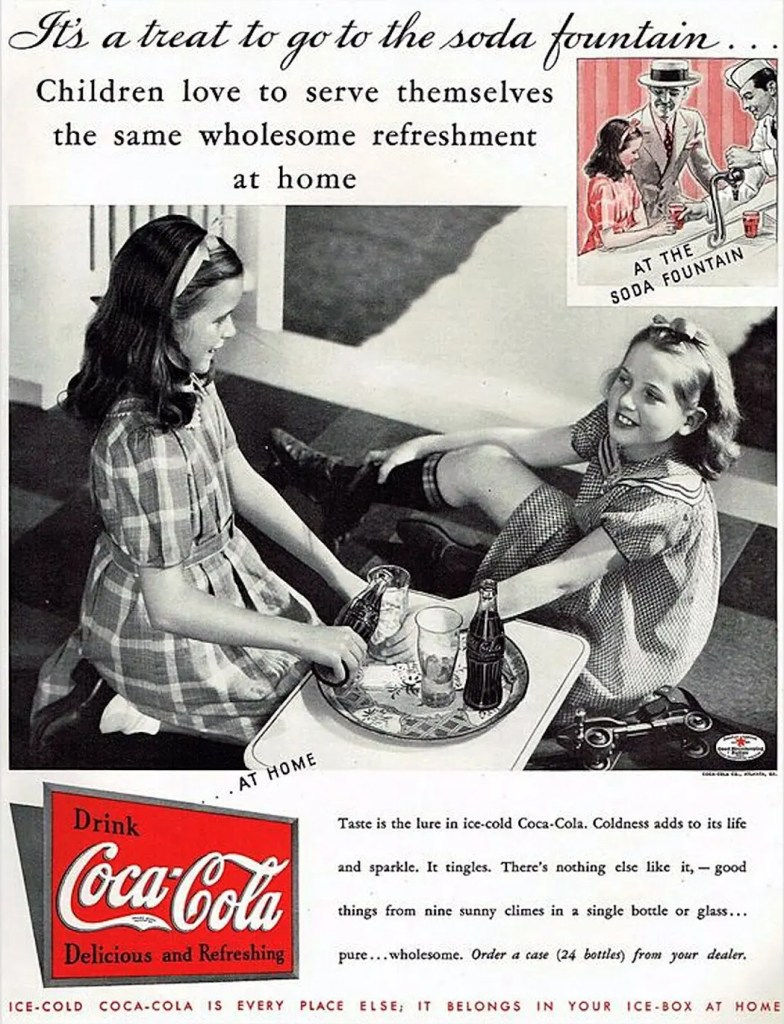 1935 Vintage Coke Ad - It's a Treat to Go to the Soda Fountain
