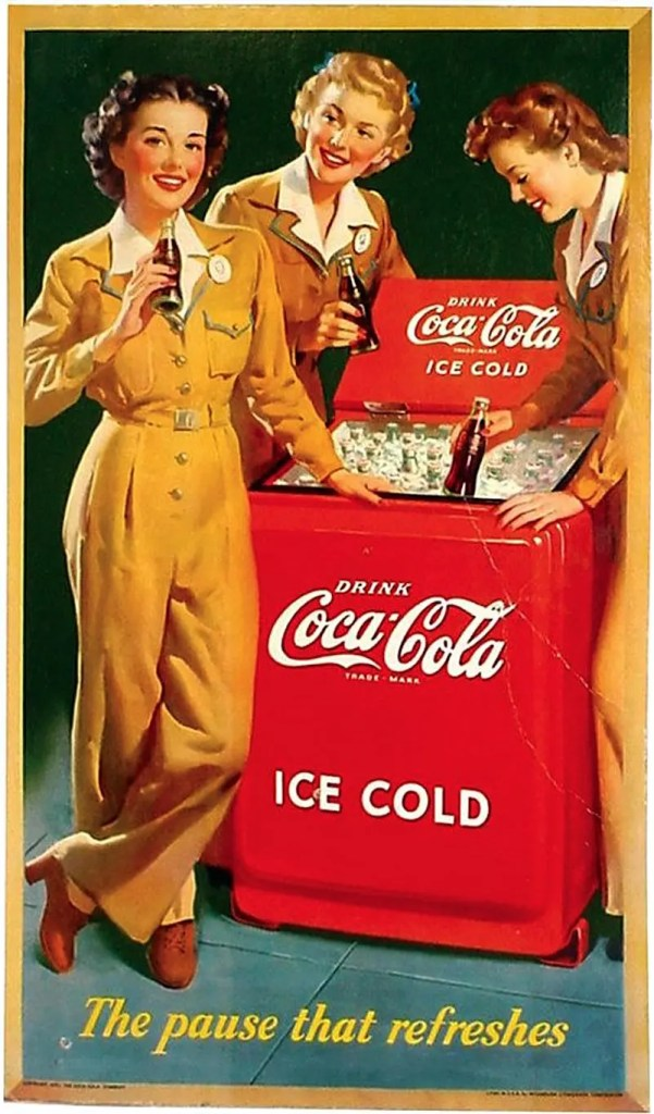 1943 - Three Service Women Enjoying Coca-Cola - 'The Pause that Refreshes'