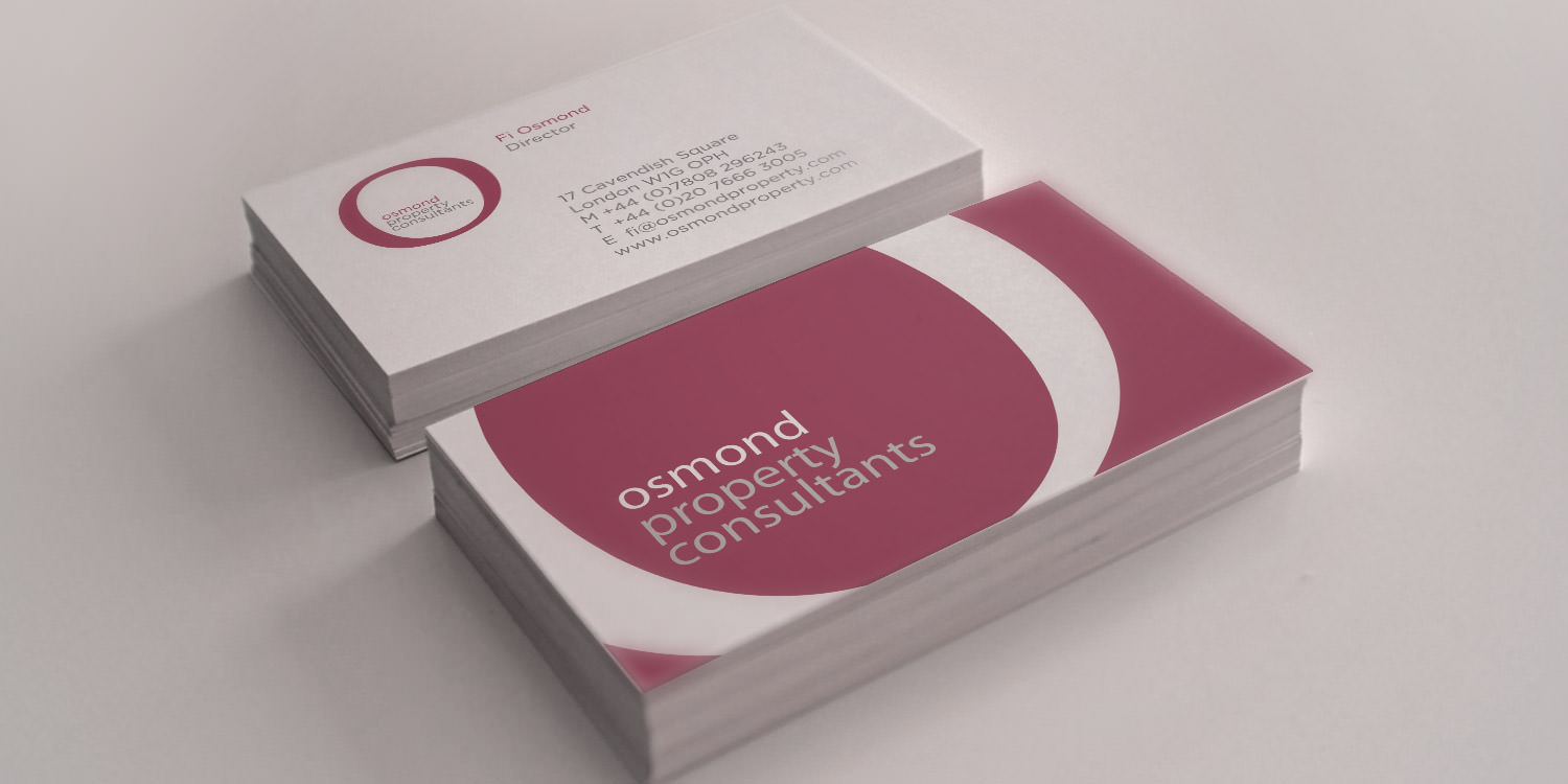 A photo of the Osmond Property Consultants business card design | Tribus Creative - brand identity design for small business