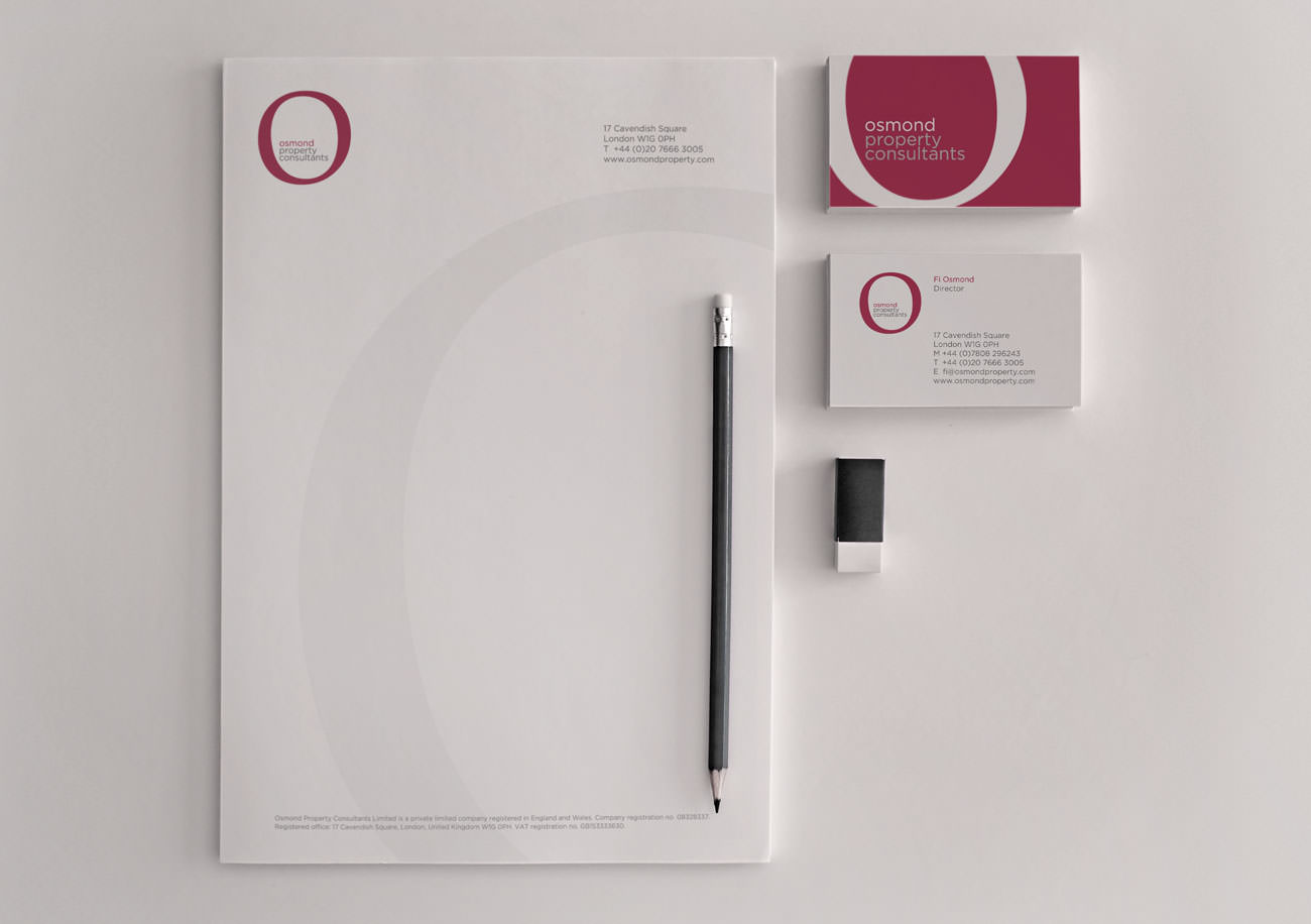 The Osmond Property Consultants stationery design | Tribus Creative - brand identity design for small business