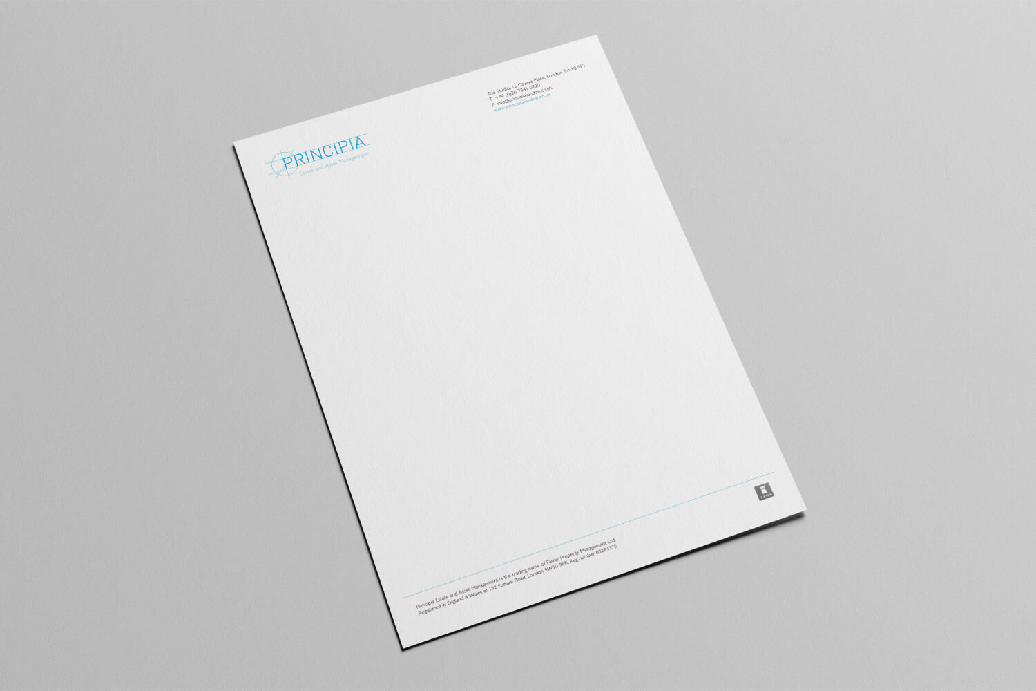 The design for Principia headed letter paper