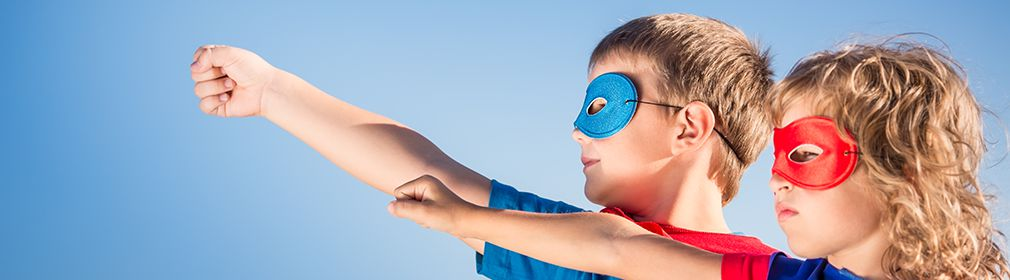 Two children play as superheroes — find your origin story
