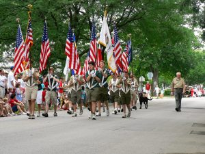 Boy Scouts march in Fourth of July parade