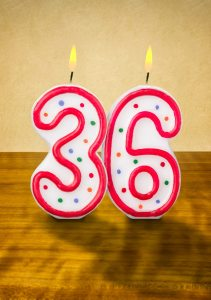 Burning birthday candles number 36 on a wooden background