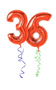 Red balloons with ribbon - Number 36