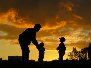 Father With Children Sunset