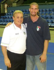 """Camp Director, Imad Qahwash with Former Cleveland Cavaliers coach and future Hall of Famer Mike """"Czar"""" Fratello during FIBA international competition."""