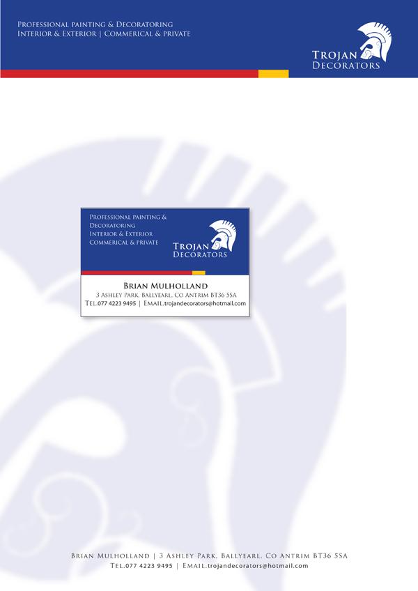 Trojan Decorators logo and Stationery. Newtownabbey, Co Antrim