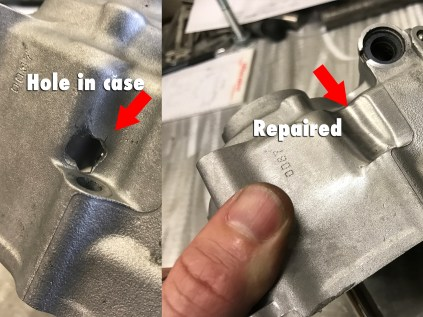 Repaired hole in case