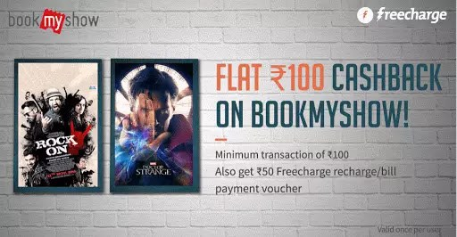 BookMyShow – Get 50% Off + Rs.50 Cashback on Rs.150 or more On Paying via FreeCharge (All Users)