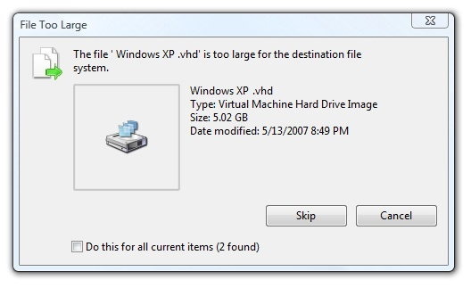 Fix the file is too large for the destination file system Error