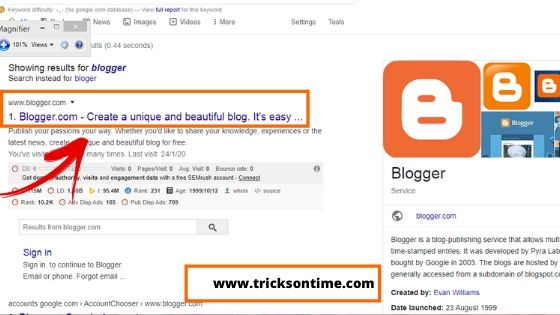 google search  result for google blogger