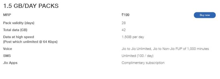 jio 199 recharge offers