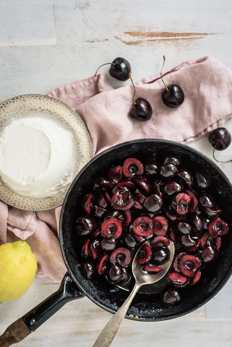 schichtdessert ricotta kirschen balsamico trickytine