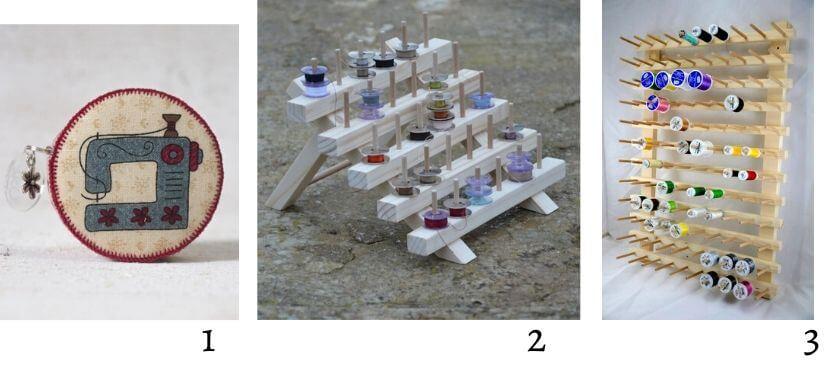 porte canette et bobines en bois