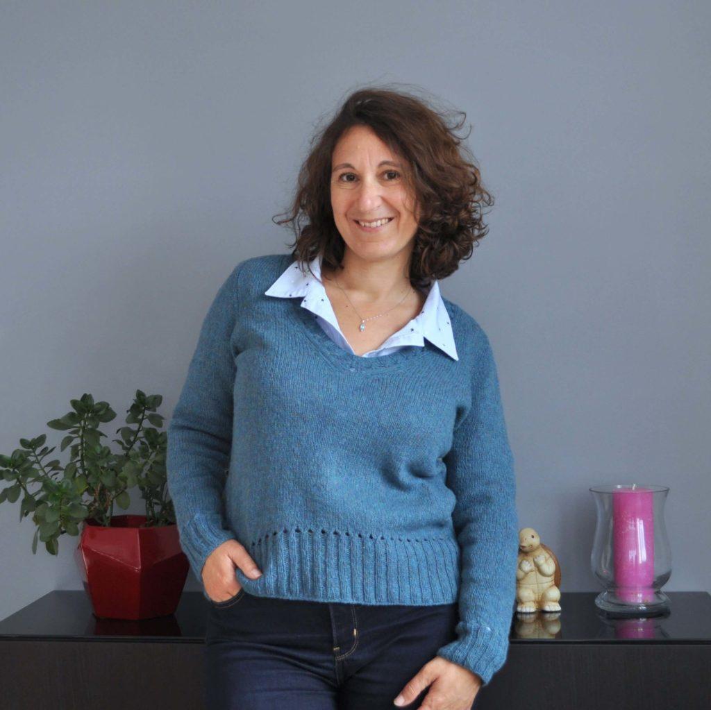 pull femme Báirbre à tricoter