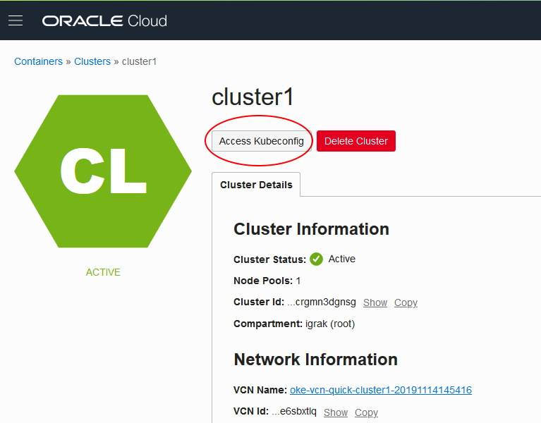 Oracle Cloud Cluster Kubeconfig