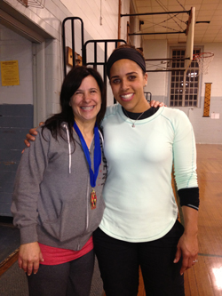 Andrea with her coach, Cara Heads Slaughter.