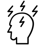 head with lightning-stress icon