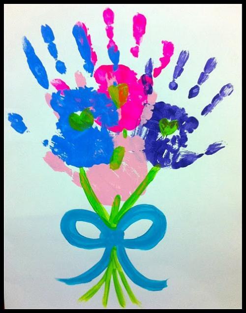 букет цветов из отпечатков