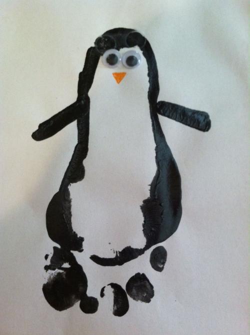 пингвин из отпечатков