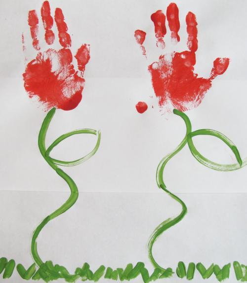 тюльпаны из отпечатков