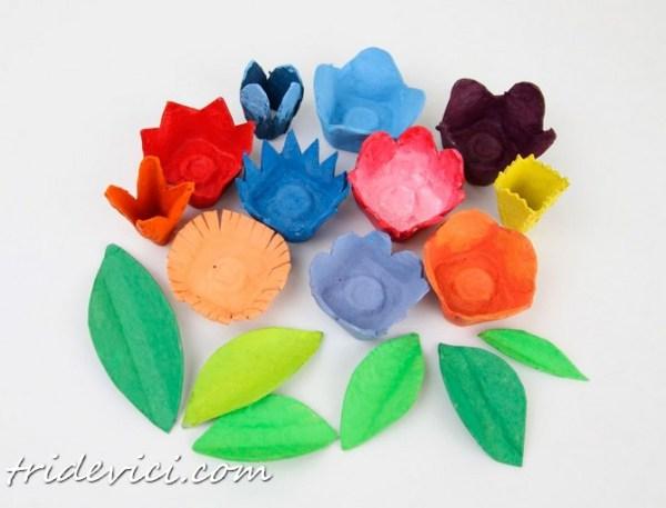 цветы из яичных лотков (1)