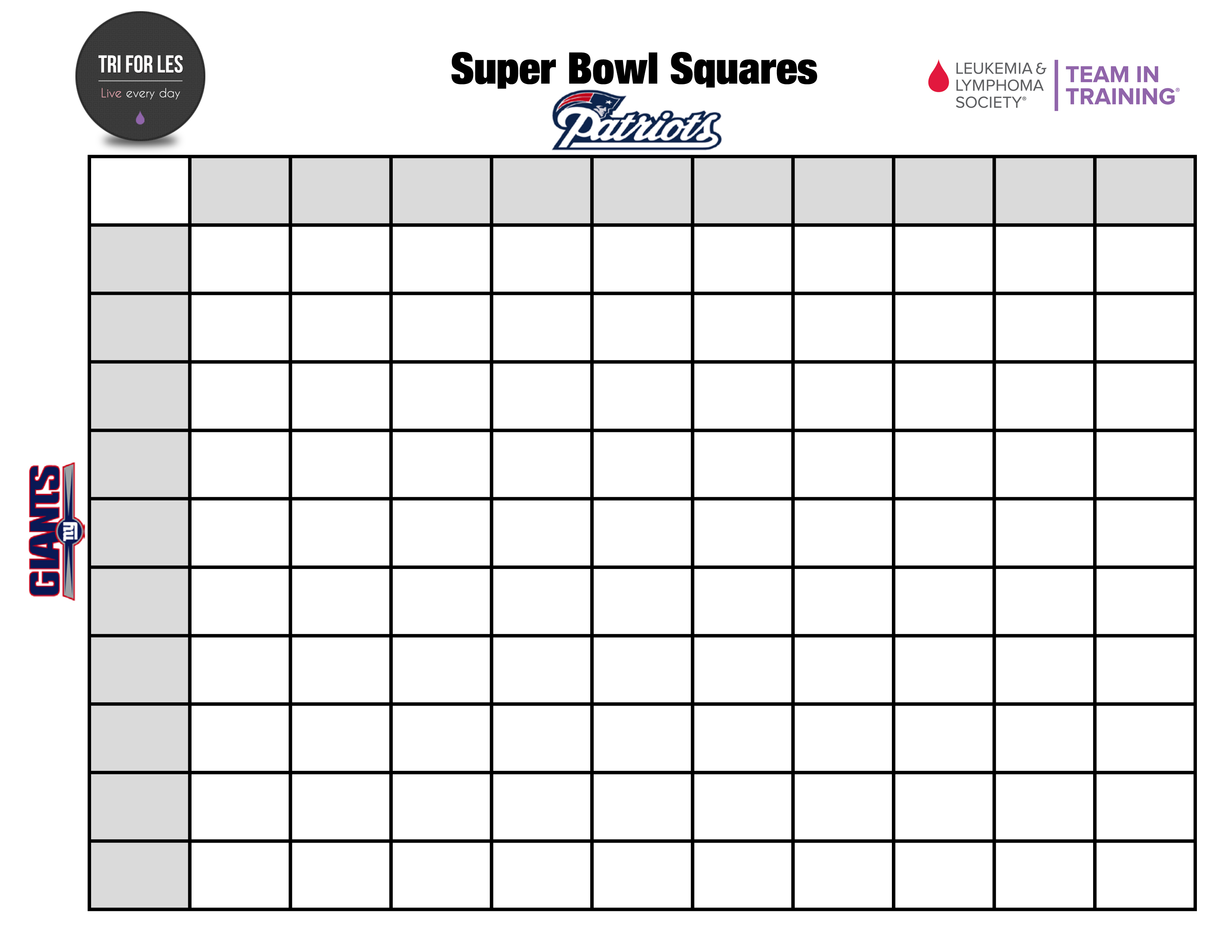 Super Bowl Squares Pool For Charity