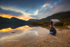 Ading after capturing sunrise at Dove Lake Tasmania