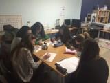 Sesión de trabajo. Grupo de telémacas con su mentora (ETSEM)