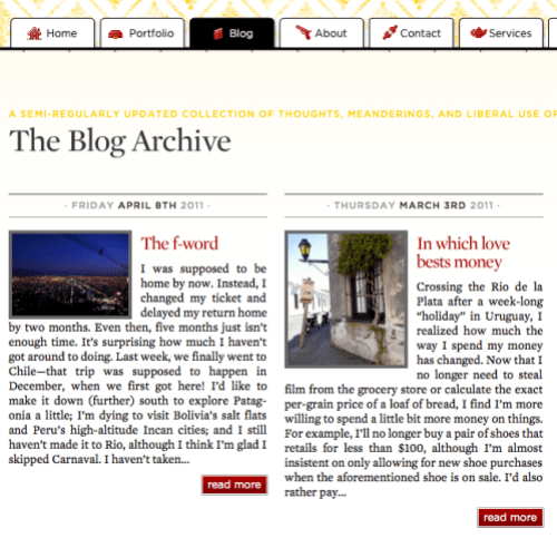 Redesigned blog page