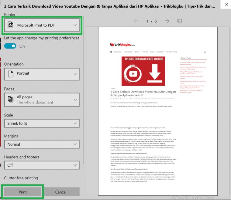 Pilih 'Simpan sebagai PDF'