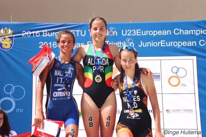 Kirsten Nuyes podium Burgas Inge Huitema