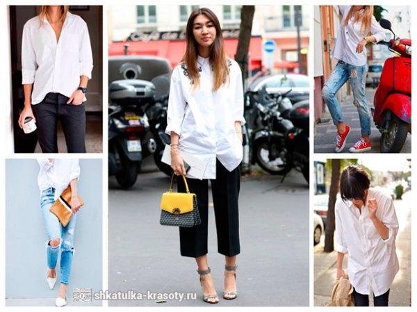 Фото джинсы с белой рубашкой – с чем носить рваные ...
