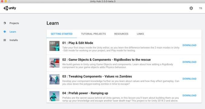New Unity Hub Learn Tab