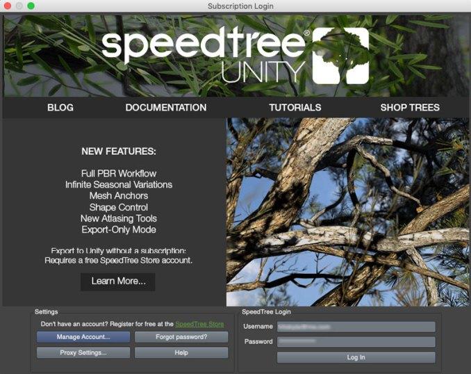 Speedtree for Unity Login