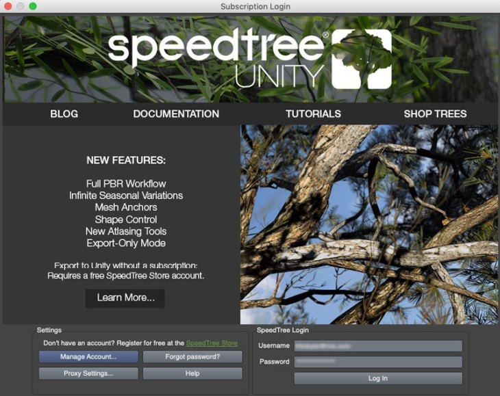 Speedtree for Unity Login