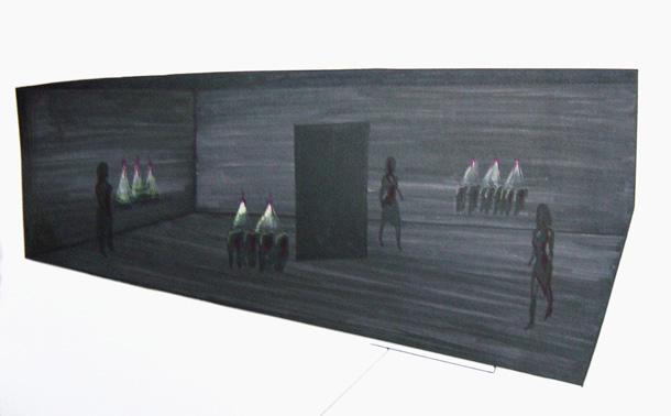 97. Showroom - 2003 disegno preparatorio per il capo Dancing on the Verge - Il coraggio cm 70x100