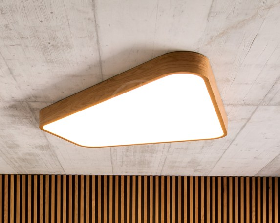 Trilum woodLED luminaire with atypical custom made wooden body