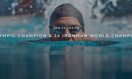 Jan Frodeno firma  con las gafas de natación THEMAGIC5