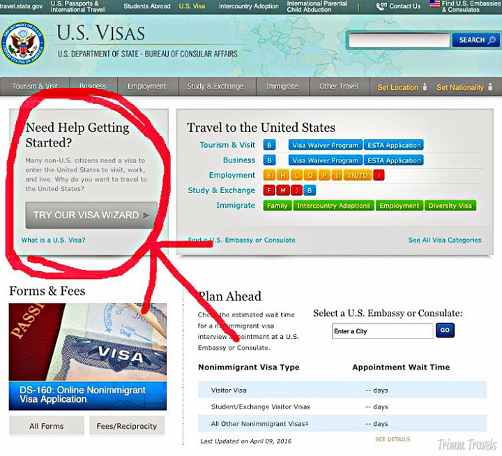 US Visas Getting Started Wizard